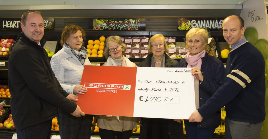 22/11/2016 Eurospar Bunclody presented €1090-87 to the local Vincent de Paul. Photographed from left; Ciaran Price store owner, from Vincent de Paul Maureen Byrne, Maureen Murphy vice president, Teresa Murphy and Anne Codd, Patrick Rooney store manager.Photo;Mary Browne